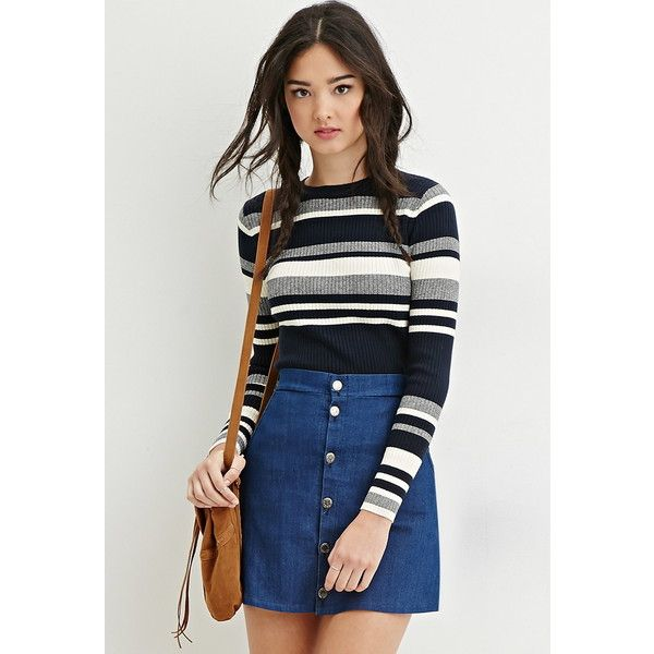 91836a64c5 Forever 21 Women s Cropped Stripe Sweater ( 18) ❤ liked on Polyvore  featuring tops
