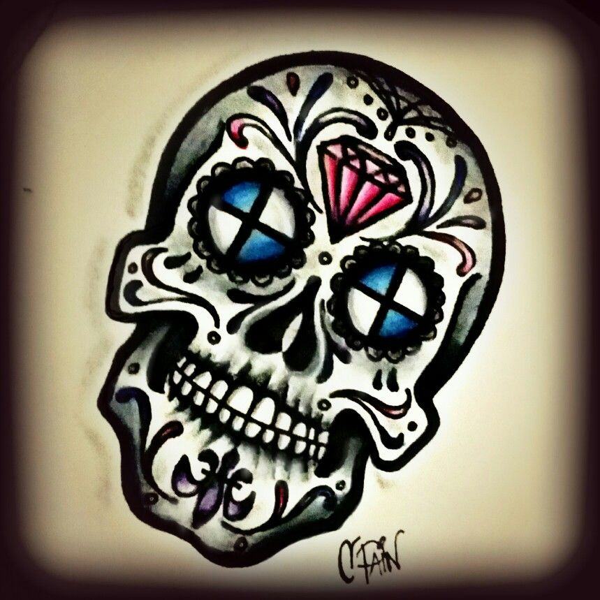 sugar skull tattoo flash drawing day of the deas bmw diamond colored pencil drawing my. Black Bedroom Furniture Sets. Home Design Ideas