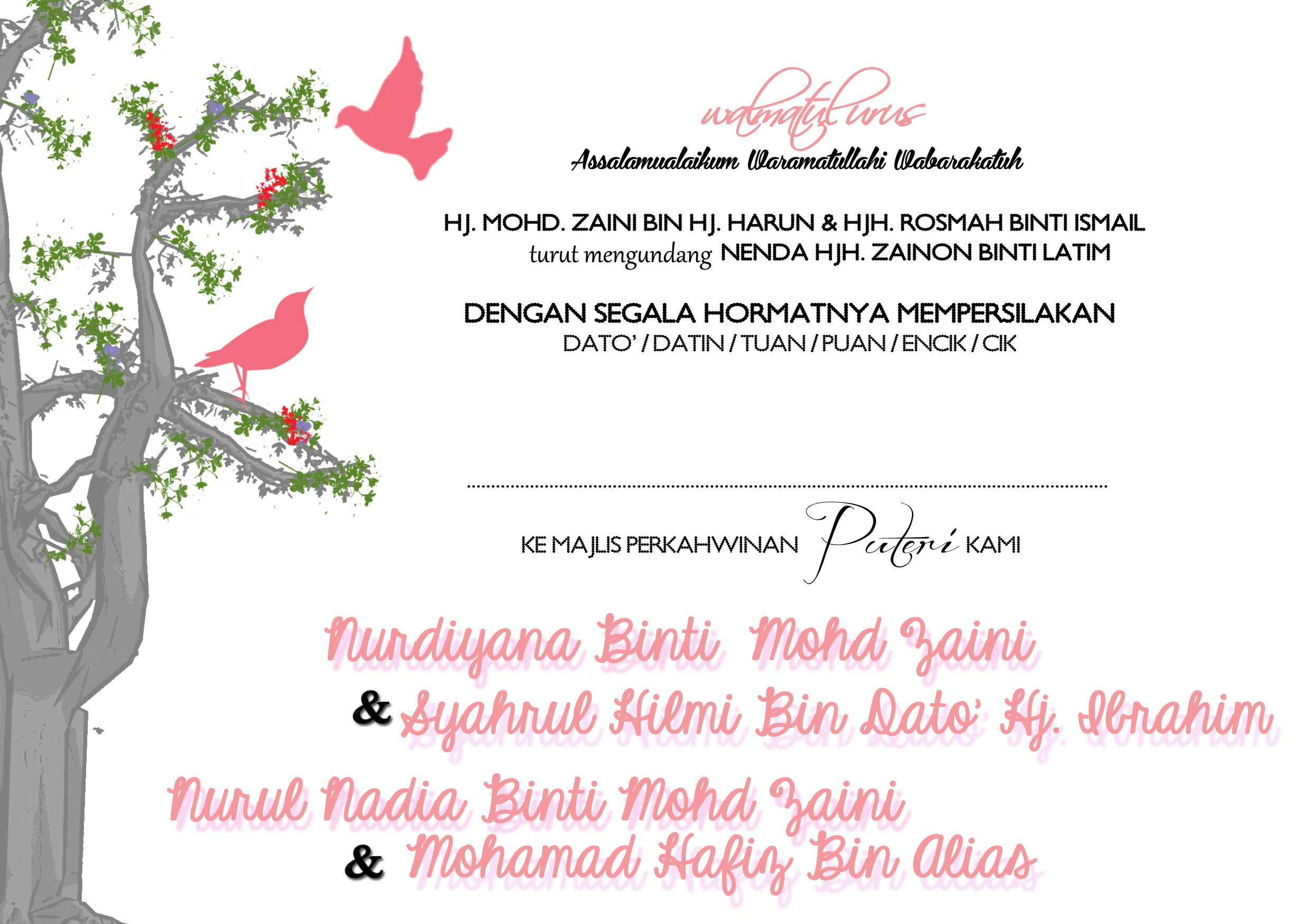 Wedding Card Design for Malay Wedding (Page 2) #nadiasuchendesigns #weddingcard #malaywedding For custom made invitation designs, contact nadiasuchen@gmail. ...