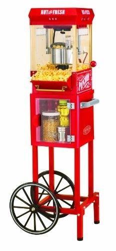 Popcorn Machine Cart Kettle Popper Nostalgia Vintage Red Movie Maker Funtime Hot #NostalgiaElectrics