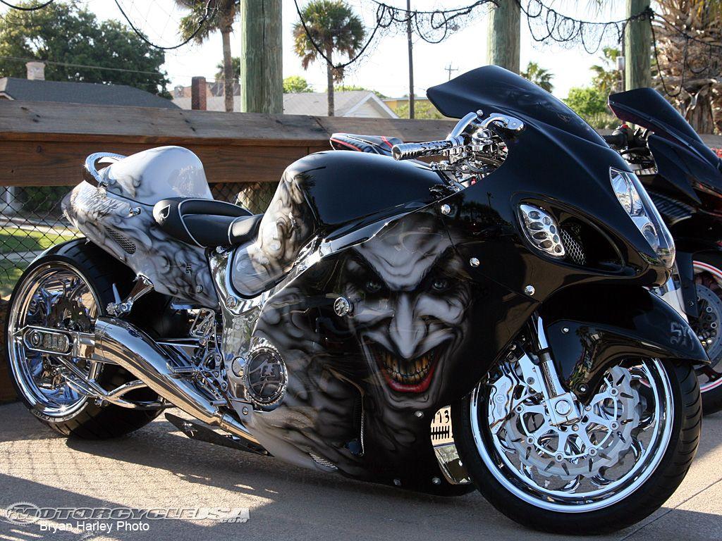 Joker paint job on a motorcycler custom motorcycle paint airbrushed hayabusa exorcist sport bike