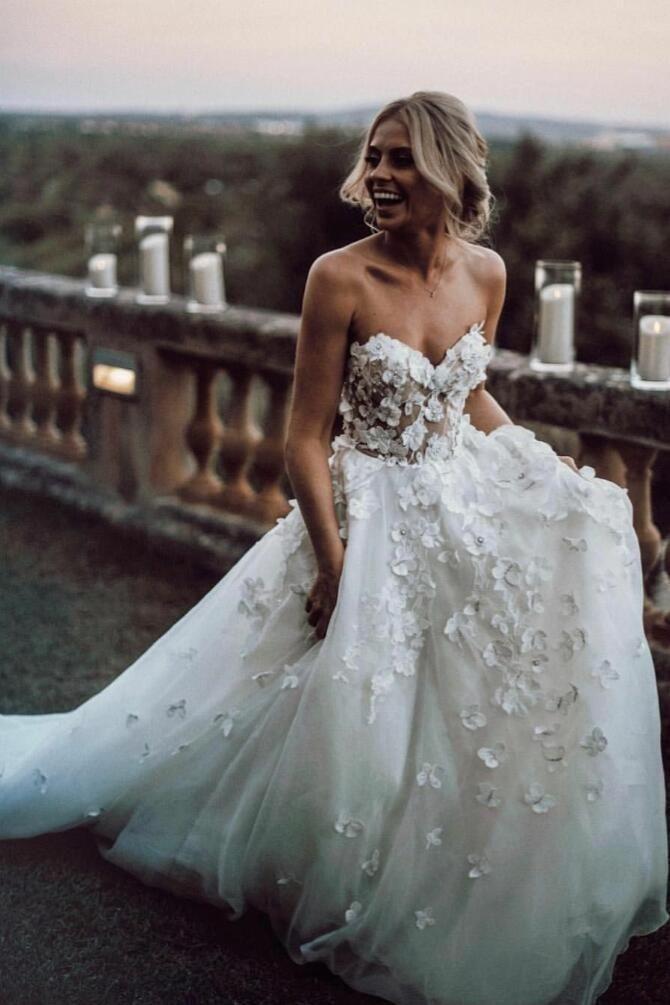 Photo of Schatz 3D Blumenhochzeitskleid Kleid mit Tüllrock -,  #blume…