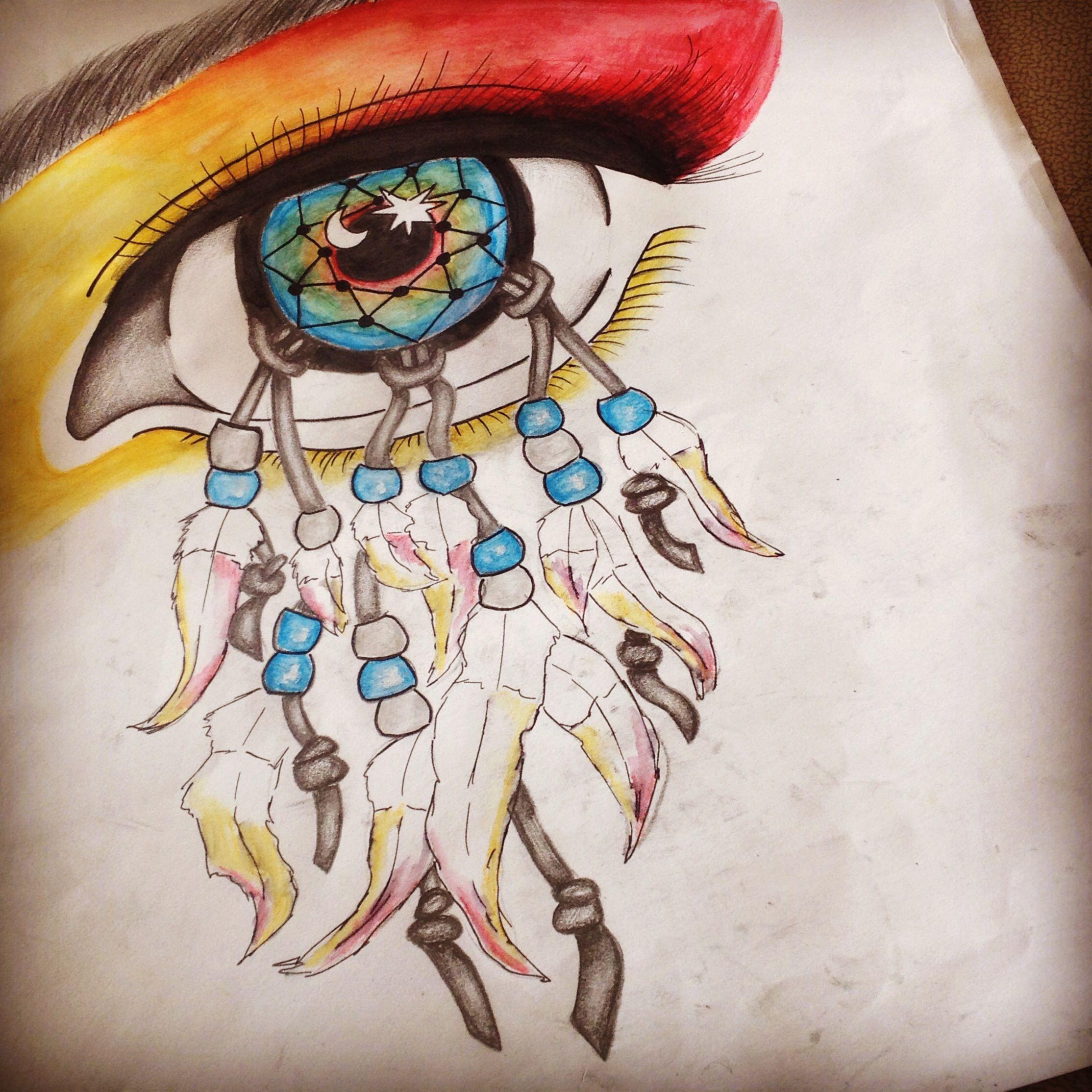 A level art water colour pencil tonal sketch dream catcher for Weird drawing ideas