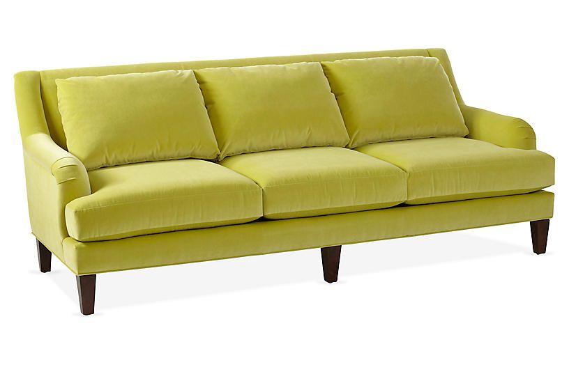 Merrimack Sofa Chartreuse Velvet