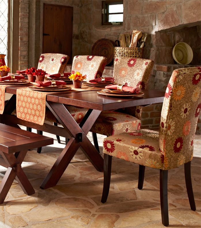 One Room Kitchen Interior Design In Mumbai: Adelaide Gold Floral Dining Chair With Espresso Wood