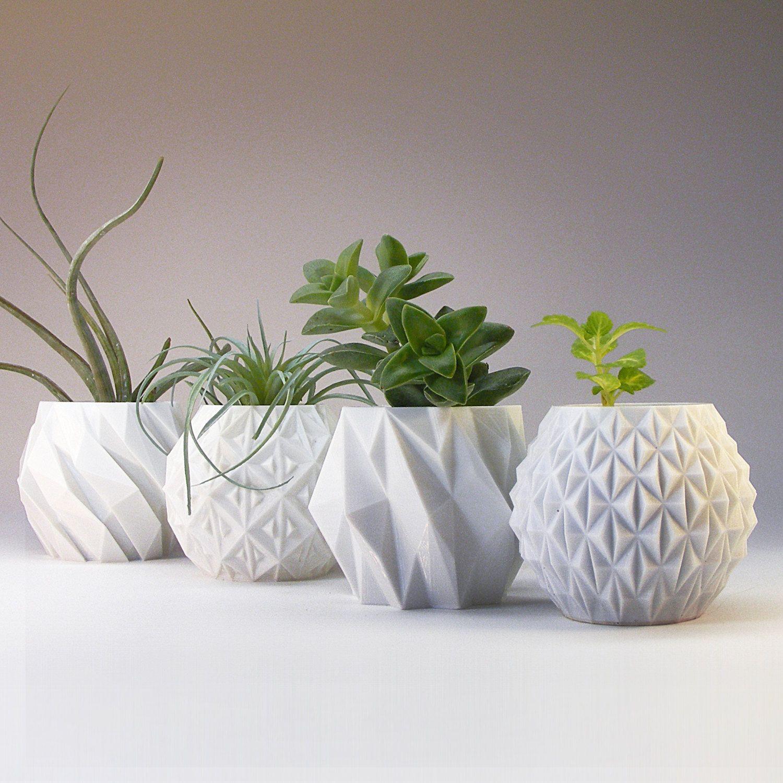 Modern Planter Mantel Decor Set Geometric Planter Gift 400 x 300