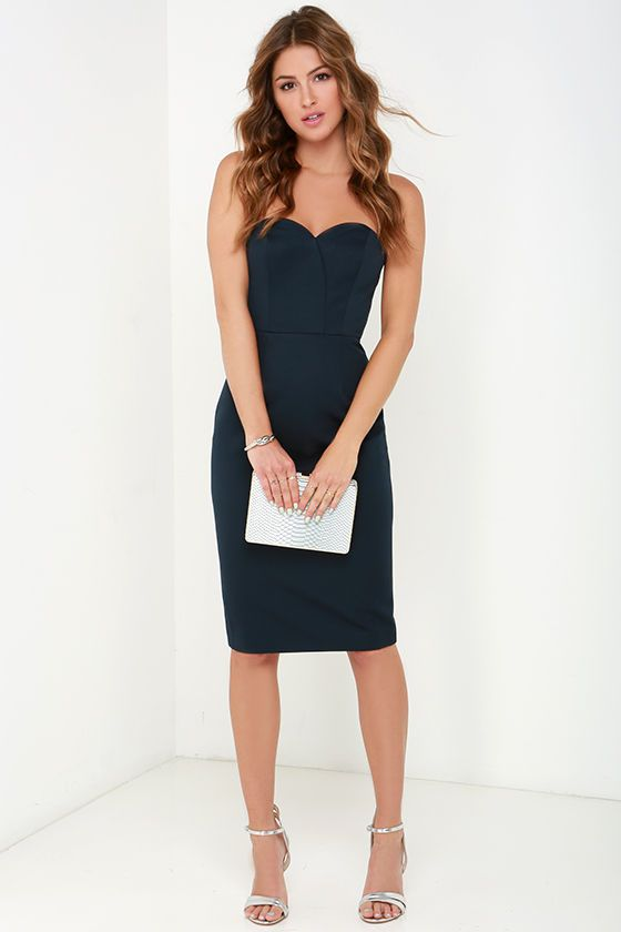 Finders Keepers Delirium Midnight Blue Strapless Midi Dress ...