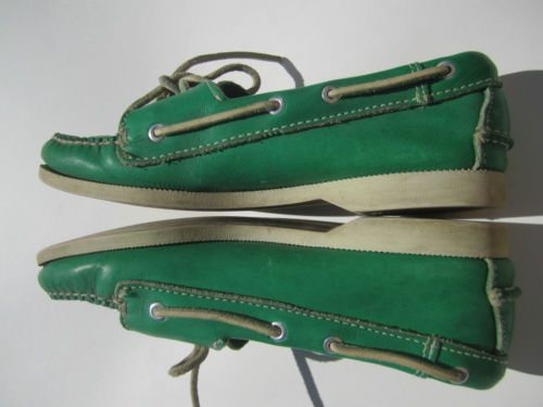 COLE-HAAN-TRUE-Vintage-GREEN-LOAFERS-Ladies-6-5M-Boat-Shoes-LEATHER-Preppy-80s