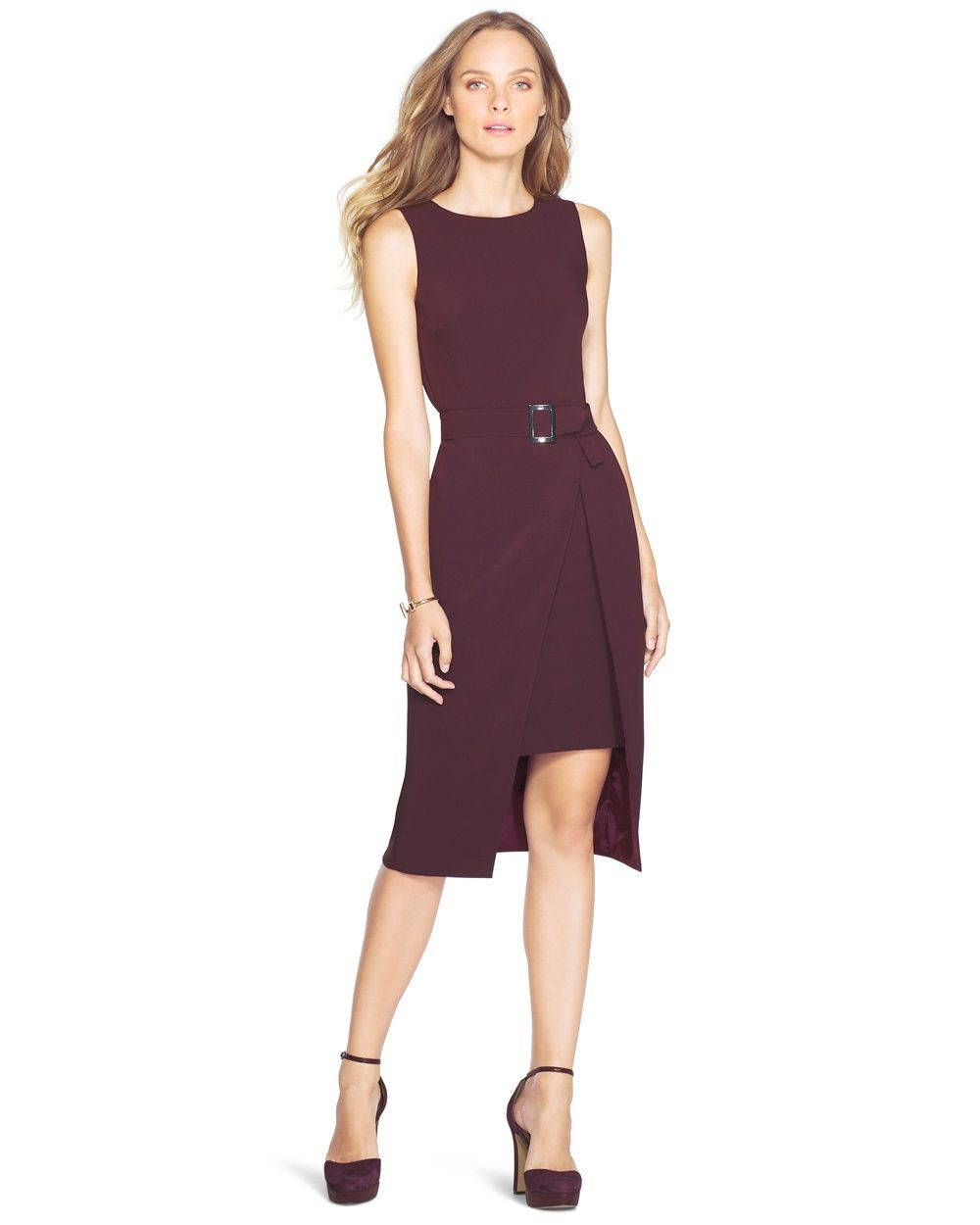 Whbm cutaway belted sheath dress sheath has a modern cutaway skirt boat neck and belted waist fully lined back zip white house black market dresses