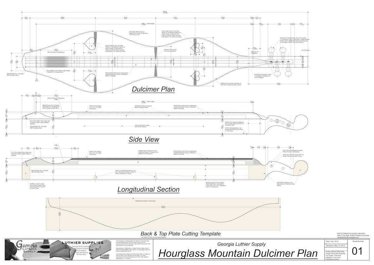 Hourglass Mountain Dulcimer Plan Electronic Version To Build In