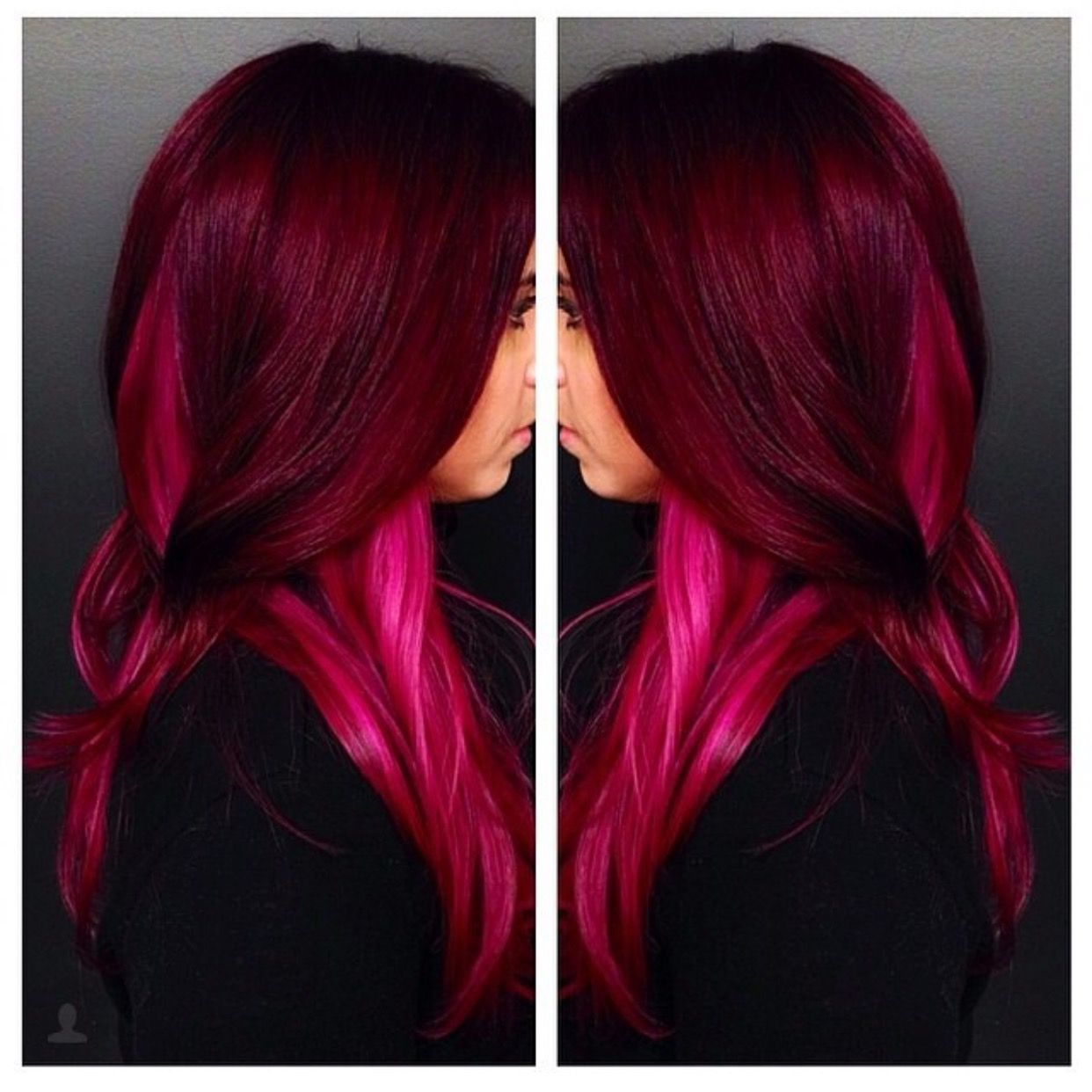 Deep Red And Hot Pink Hair Hot Pink Hair Pink Ombre Hair Hair Color Pink