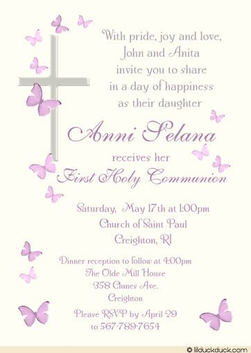 catholic first communion invitation wording