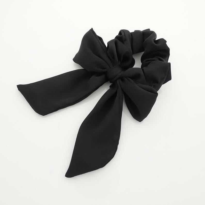 satin hair bow knot scrunchies glossy tail bow scrunchy women hair accessory