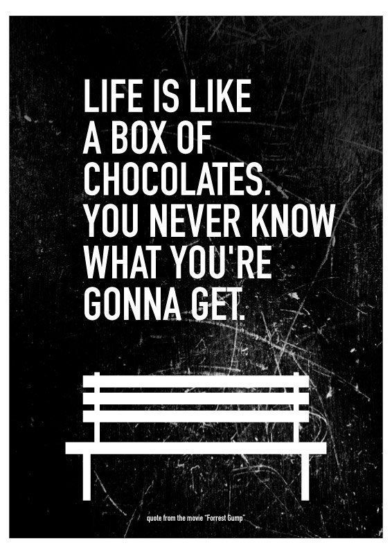 Movie Quote Forrest Gump Typography Art Poster Life is
