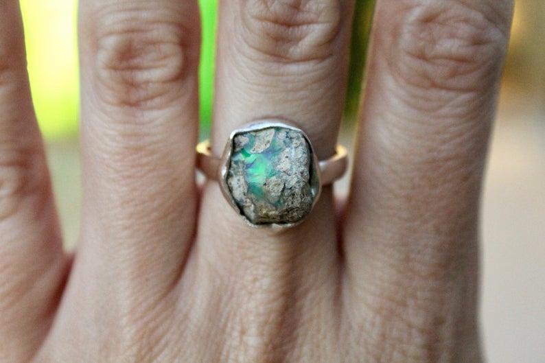 Ethiopian Opal Ring, Sterling Silver Raw Opal Ring, 925, Raw Opal Ring, Fire Opal Ring, Rough Opal Ring, Genuine Opal, Size 7