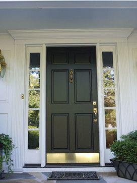 simpson 6 panel wood door with bronze kick plate black contemporary front doors other metro american home contractors - Front Door Kick Plate
