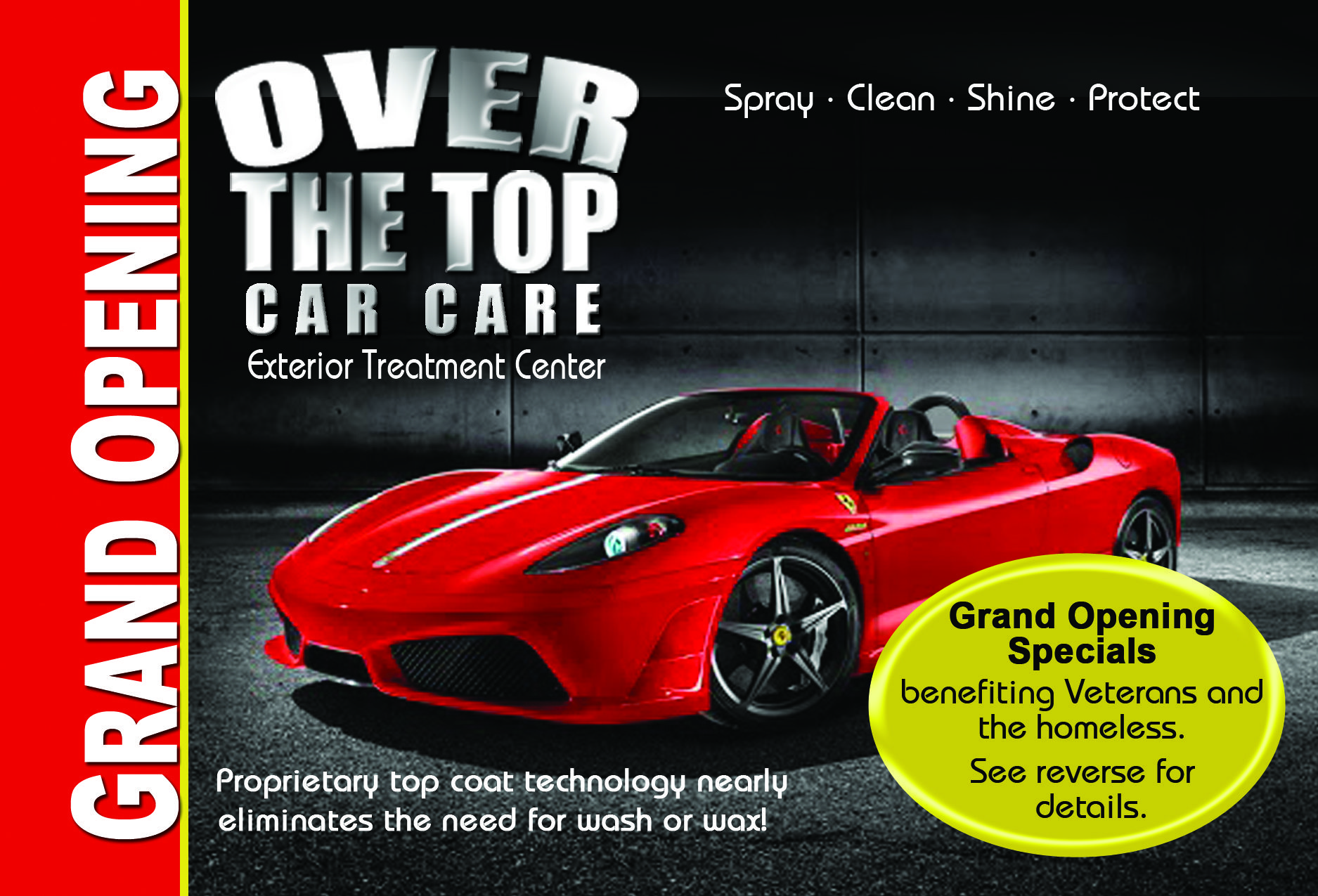 (koji's) Over the Top Car Care - Post Cards  Invites, website, cause marketing and social media