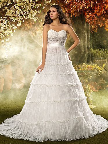 A-line/Princess Sweetheart Court Train Organza And Lace 2015 Wedding Dress