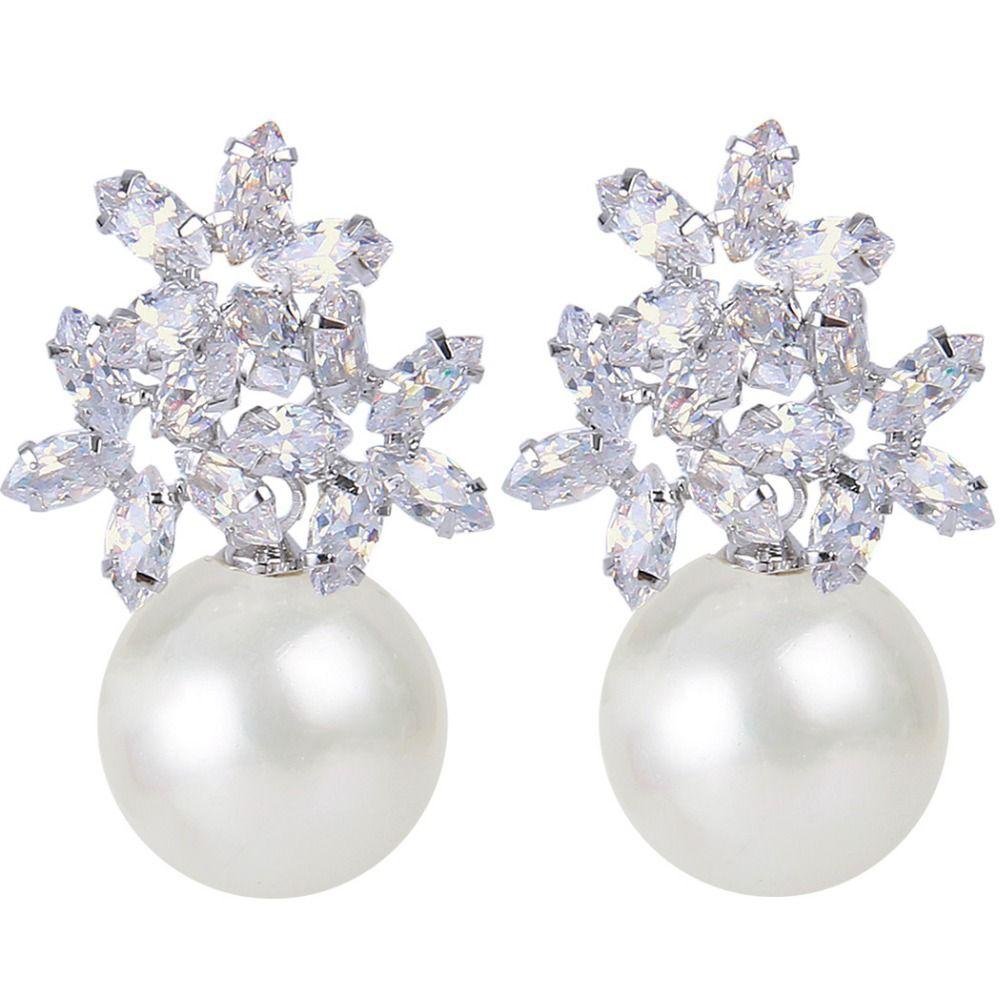 Body piercing earrings  BELLA Fashion Clear Cubic Zircon Bridal Stud Earrings Ivory Pearl