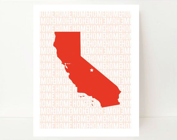State Silhouette Art Print Home State Art California 8x10 Bright Orange Home typography Bright orange