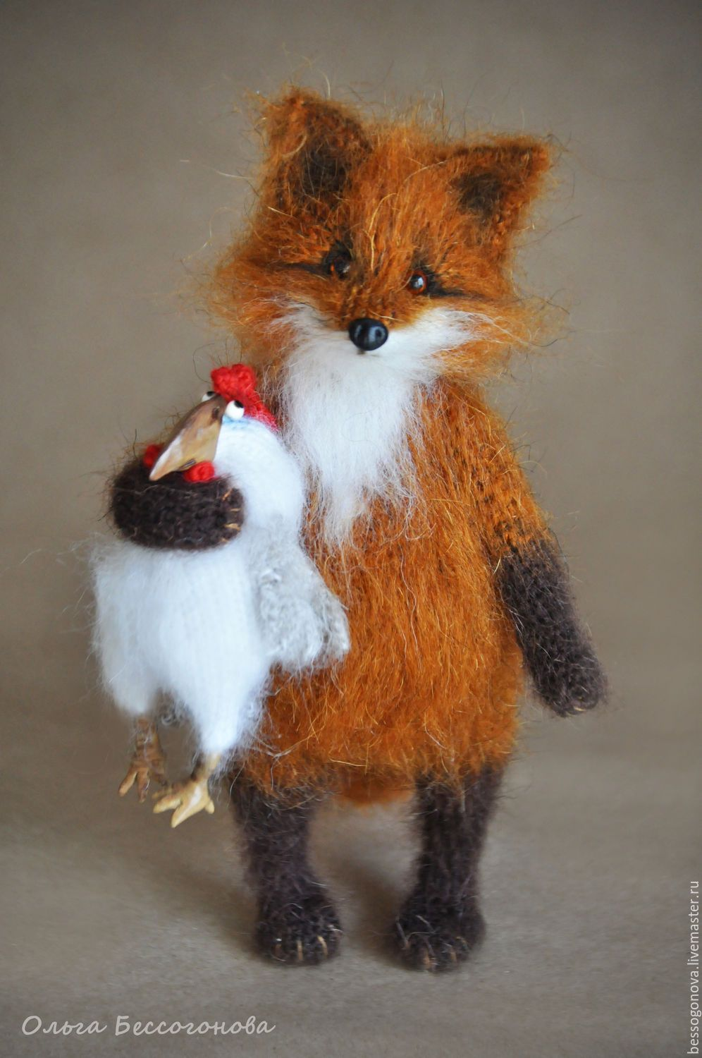 WILL BE FRIENDS?! The Fox and the cock – заказать на Ярмарке Мастеров – 8ZAOLCOM | Мягкие игрушки, Severodvinsk #feltedwoolcrafts