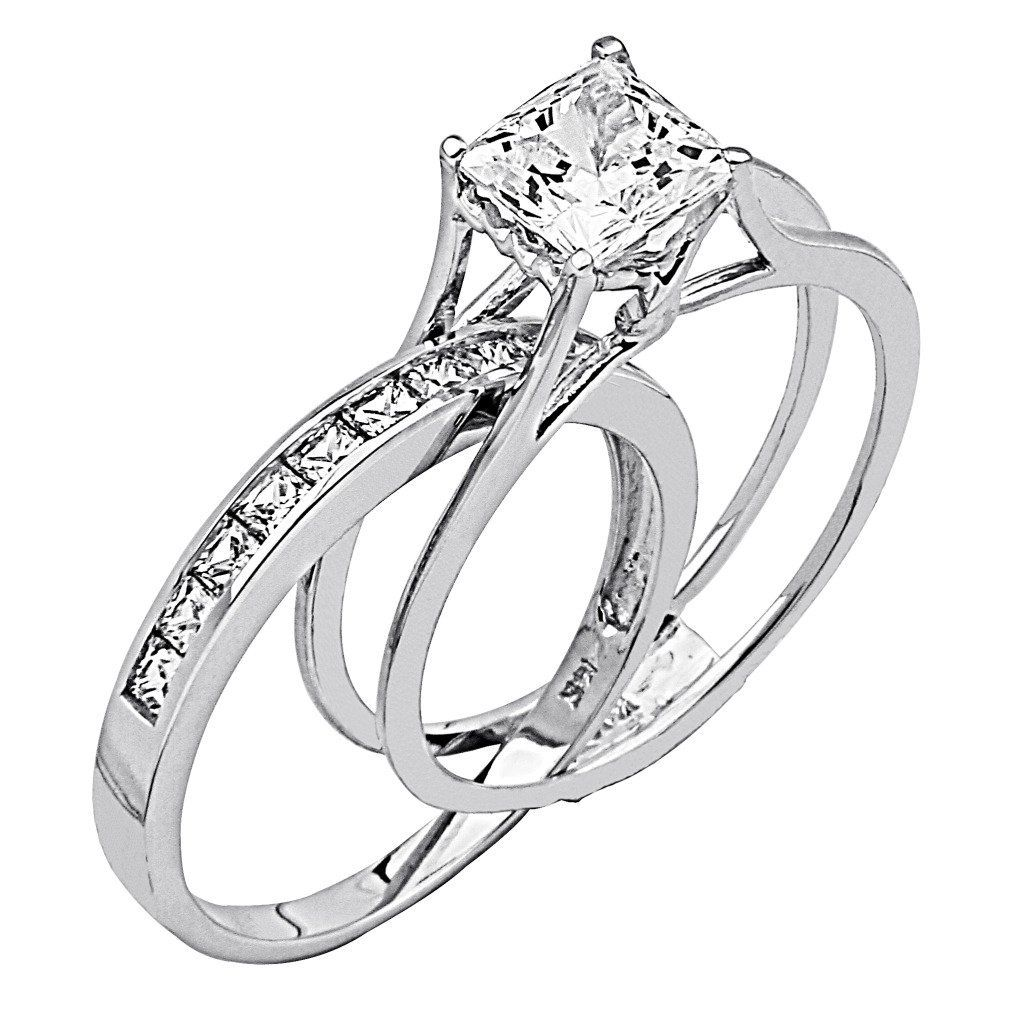Wedding Rings For Women Princess Cut - 14K White Gold High Poliosh Finish  Princess cut Ring