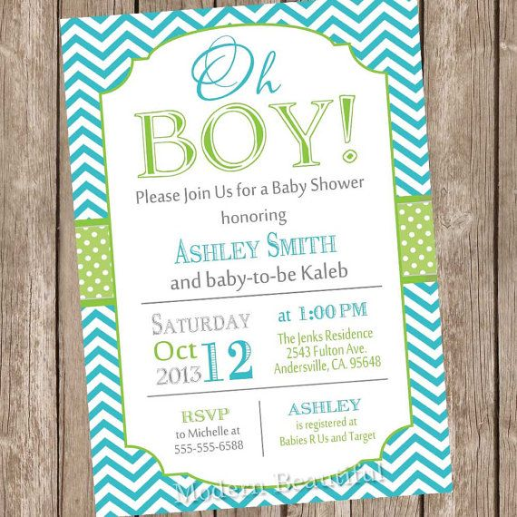 Oh Boy Baby Shower Invitation Teal And Lime Green Chevron