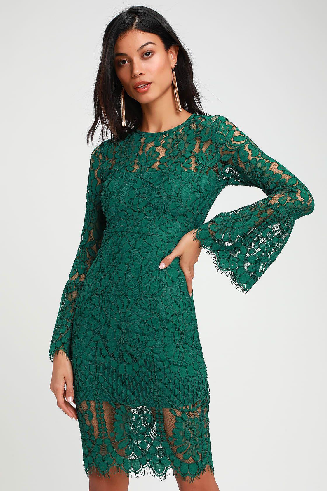 bdbf6995fcbb3 Enrapturing Elegance Green Lace Long Sleeve Midi Dress in 2019 ...
