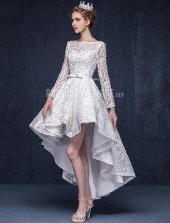 Robe de mariee courte avec manche longue