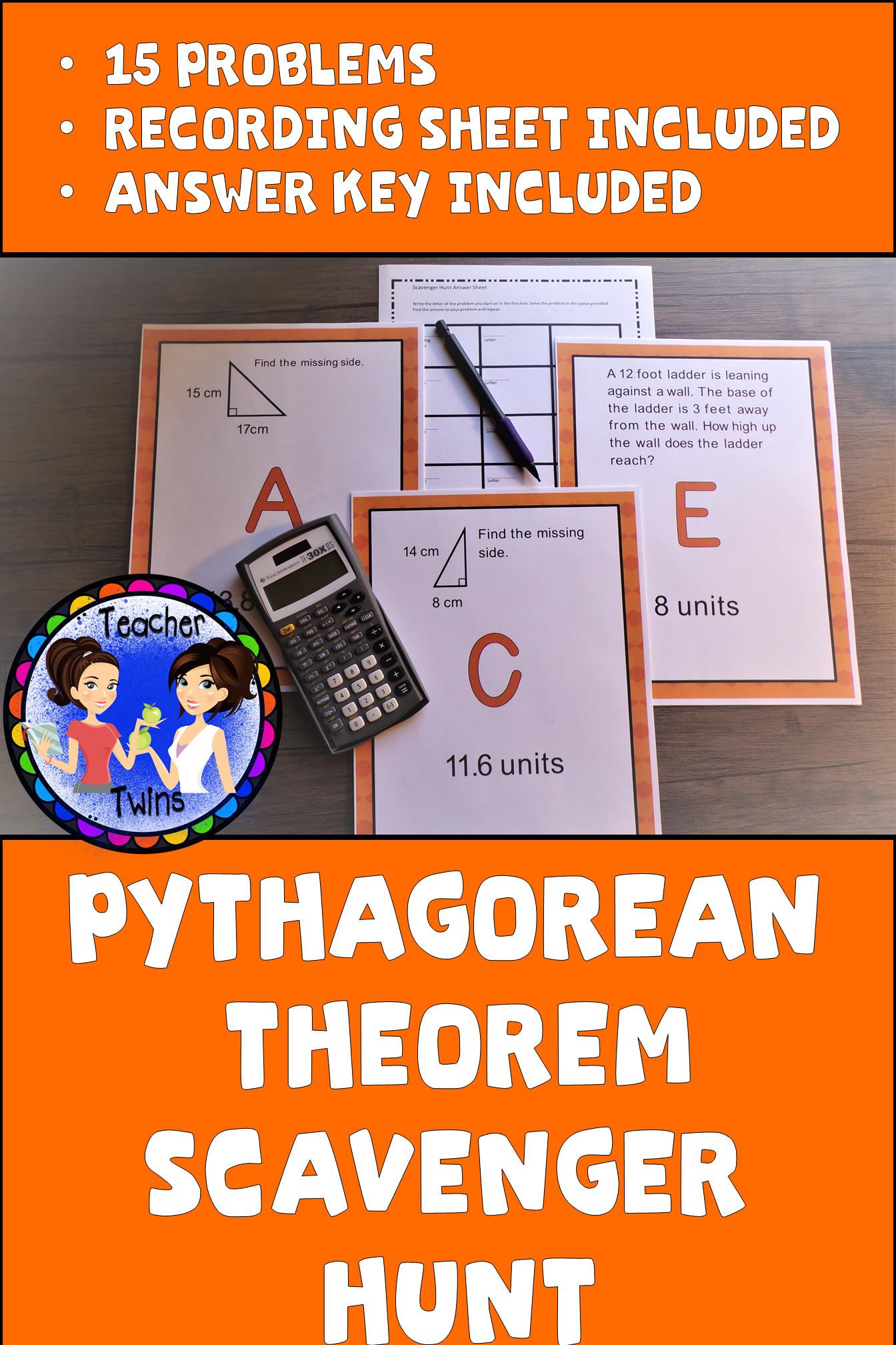 Fresh Ideas - Pythagorean Theorem Scavenger Hunt Pythagorean theorem