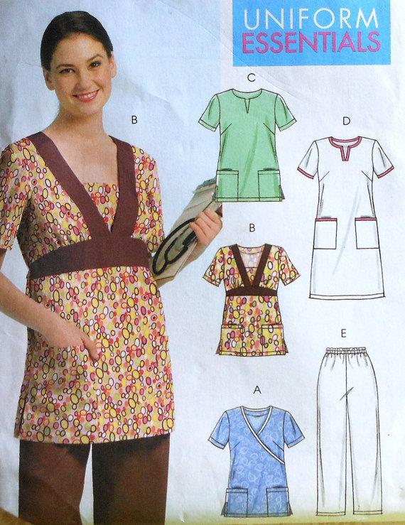 Uniform Scrubs Top,Dress, and Pants Sewing Pattern UNCUT McCalls ...
