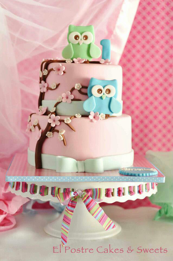 Beautiful Cake Pictures Pastel Pink Owl Themed Birthday Cake