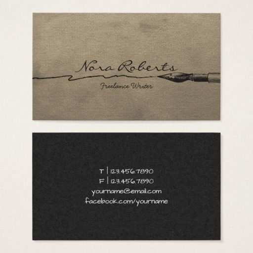 Writers Authors Editor Black Dip Pen Brown Paper Business Card Zazzle Com Marketing Business Card Writer Customizable Business Cards Templates