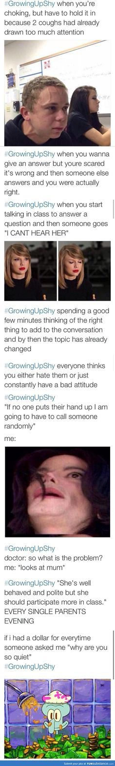 This is me to a point. I've gotten louder and not as reserved as I've gotten older though.