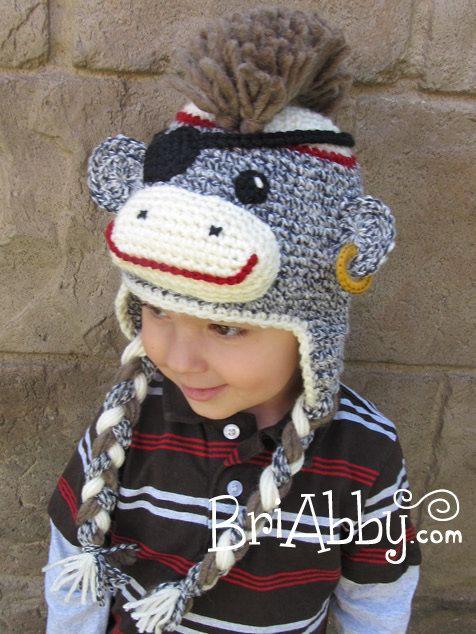 Crochet Sock Monkey Pirate With Mohawk Hat By Briabbyhma On Etsy