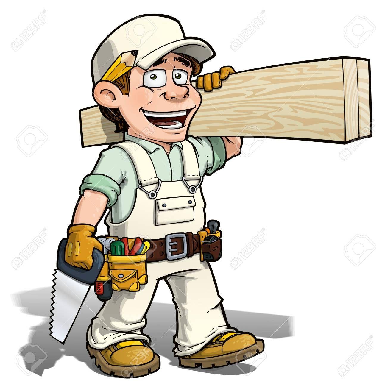 Cartoon Illustration Of A Handyman Carpenter Carrying Planks Of