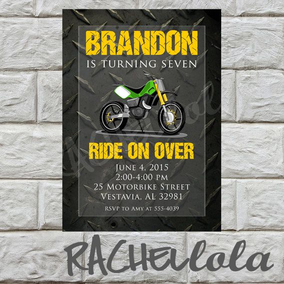 Motorbike birthday invitation do it yourself digital print motorbike birthday invitation do it yourself digital print invitations pinterest birthdays dirt bike party and birthday party ideas solutioingenieria Image collections