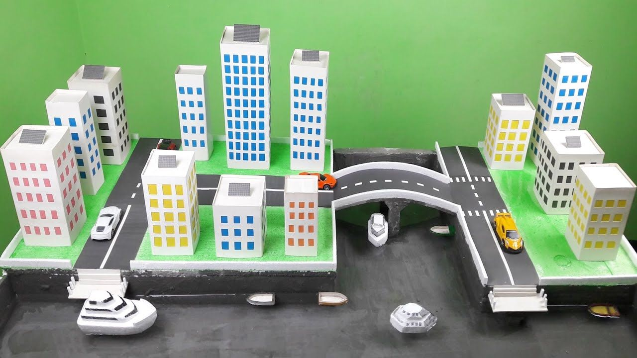 Make A Mini Solar City Model For School Project Diy Mini Solar City Mo City Model Solar City Water Fountain For Home