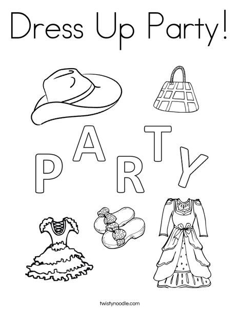 Dress Up Party Coloring Page Twisty Noodle Dressup Party