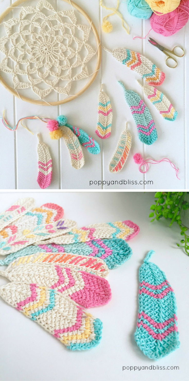 Tunisian feathers free pattern attrape attrape r ve et crochet - Attrape reve crochet ...