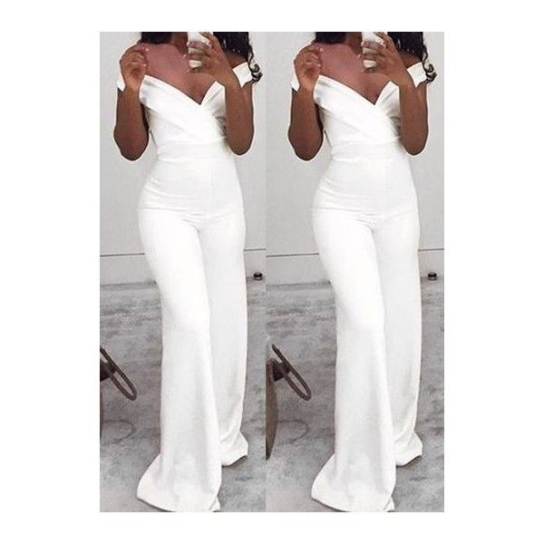 c540dc4b2e0 V Neck Off the Shoulder White Jumpsuit ( 23) ❤ liked on Polyvore featuring  jumpsuits