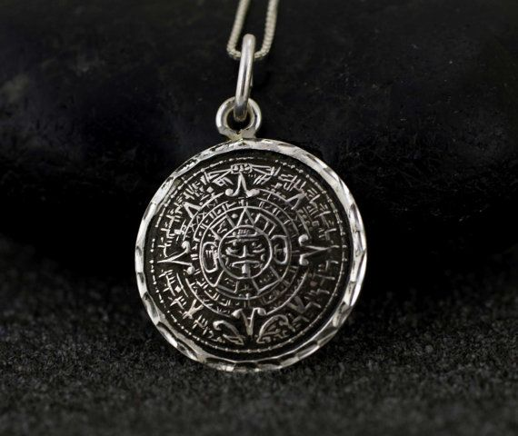 Sterling silver aztec calendar necklace sterling silver aztec mayan sterling silver aztec calendar necklace sterling by alyssasdreams aloadofball Image collections