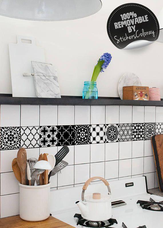 ceramic tiles, backsplash tile decal, tradiconal, pack of 24, black