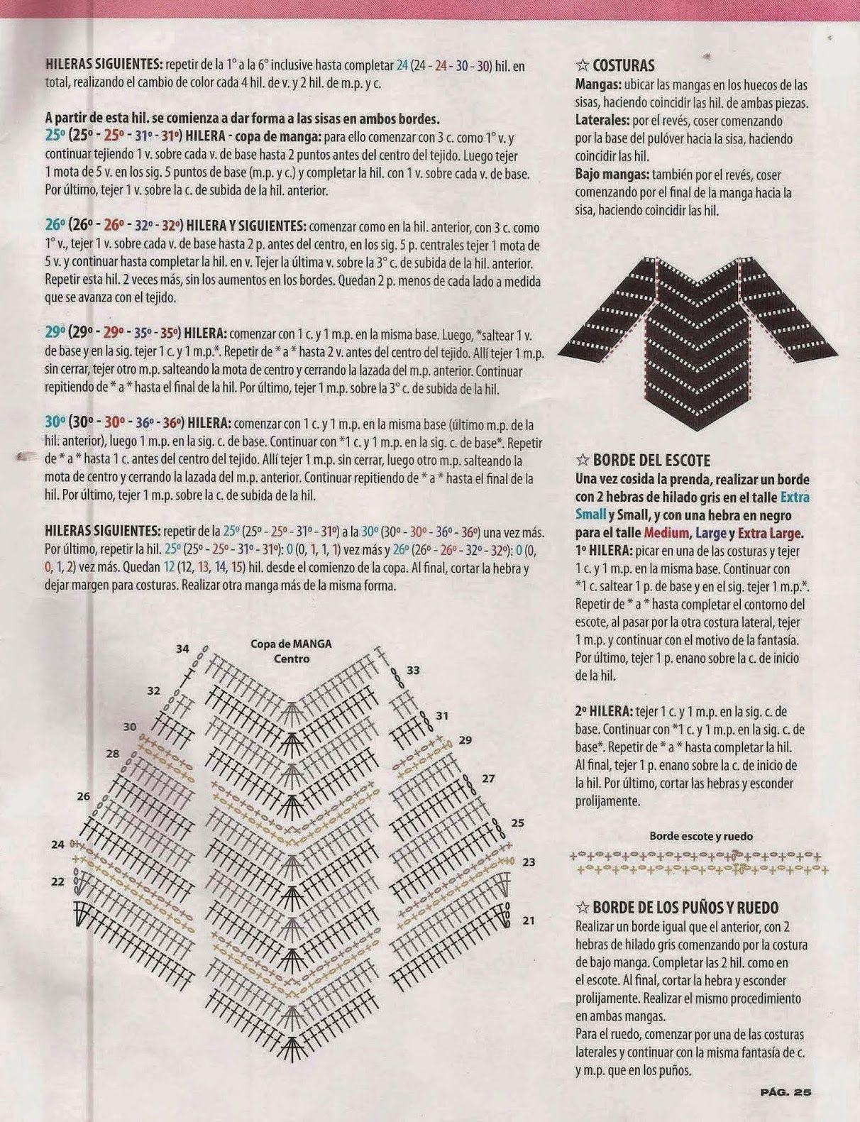 Jersey terminado en pico instrucciones - Patrones Crochet | Ropa a ...