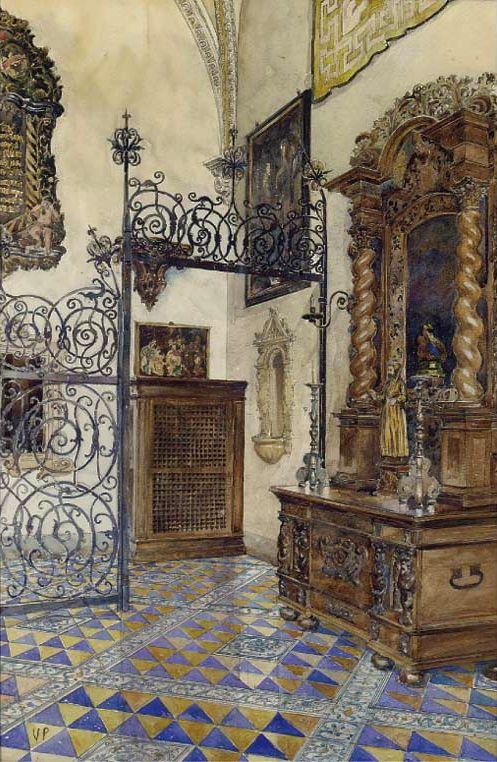 "Vicente Palmaroli González, ""A Church Interior"""
