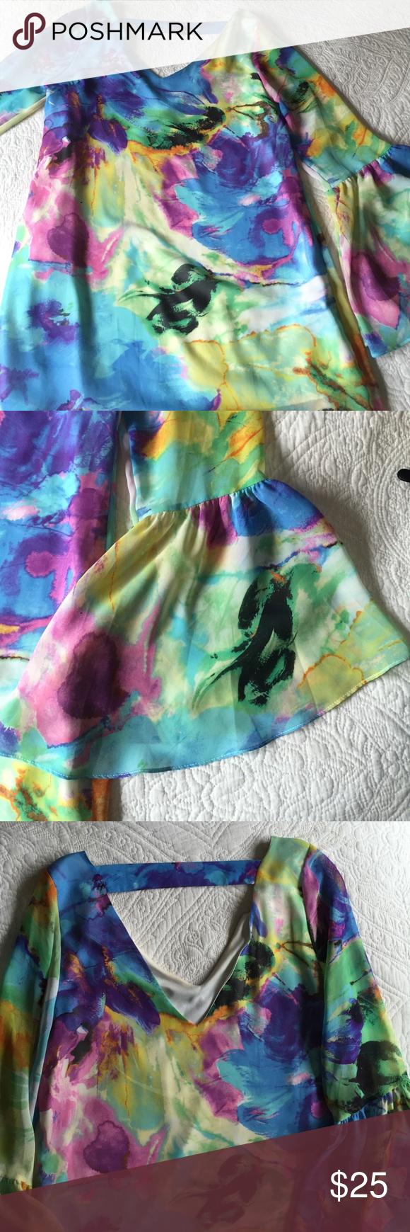 Buddy love multi colored bell sleeve dress V back. Bell sleeves. Worn like 3 times max. Buddy love Dresses Mini