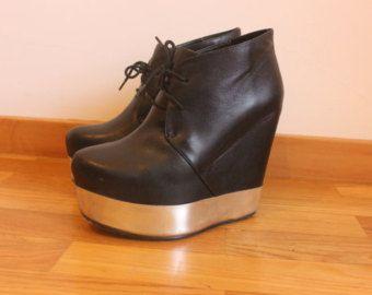 Atacoma Black platform wedges shoes