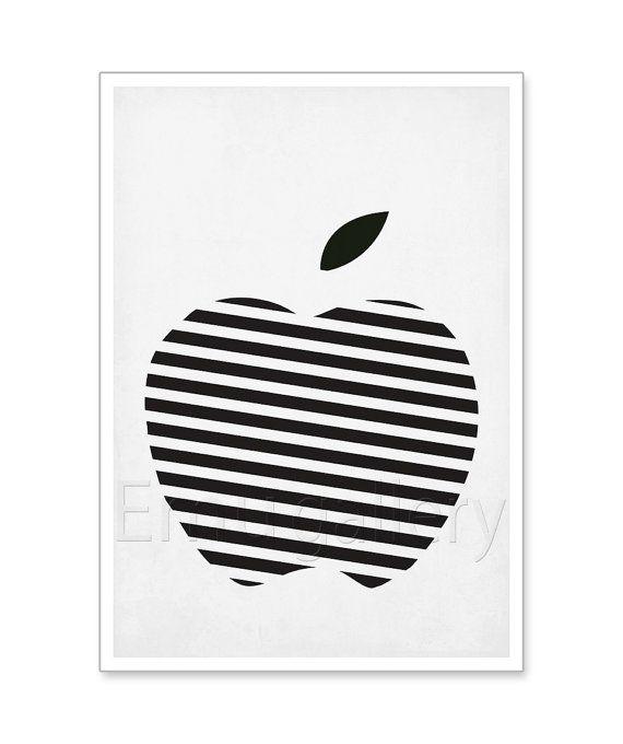 Fruit Retro Poster Black And White Striped Apple Minimalist