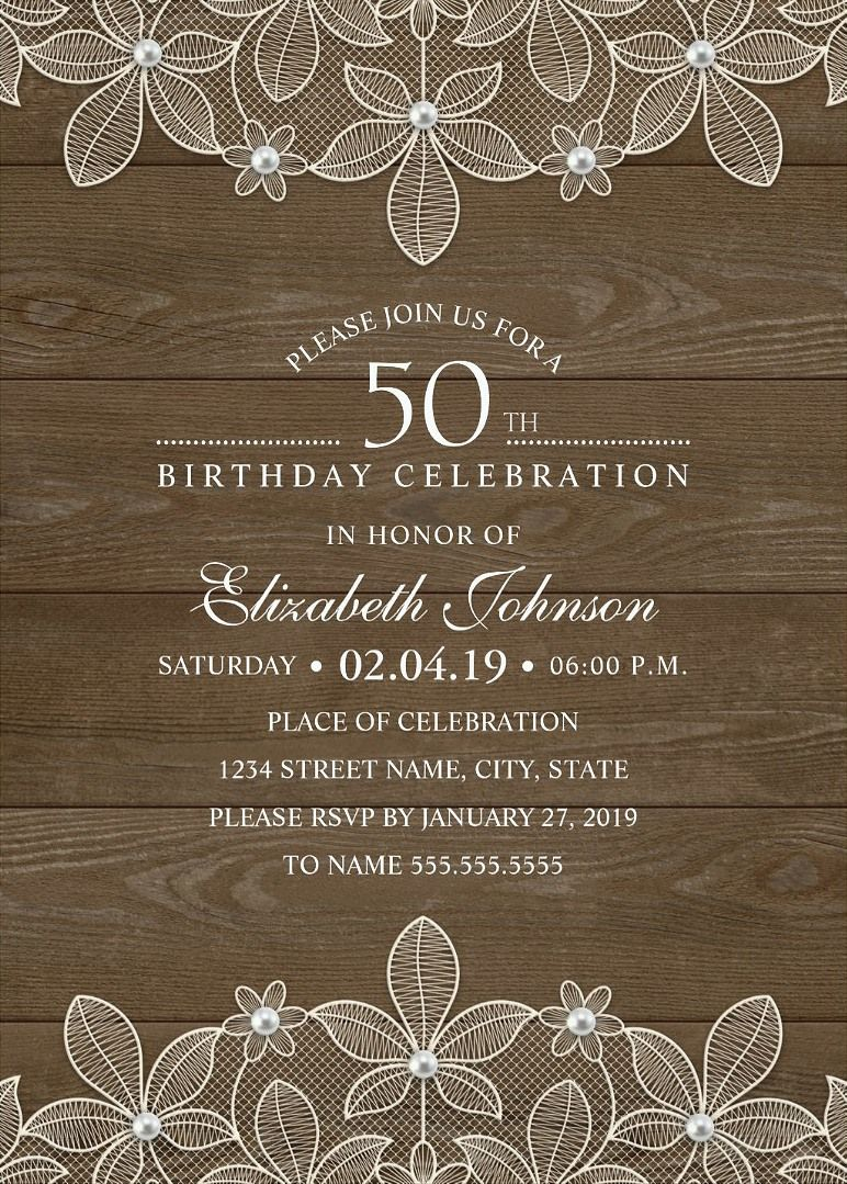 Unique Luxury Birthday Party Invitations Feature A Beautiful Rustic Lace Pearls Stylish Typography On Wood Background
