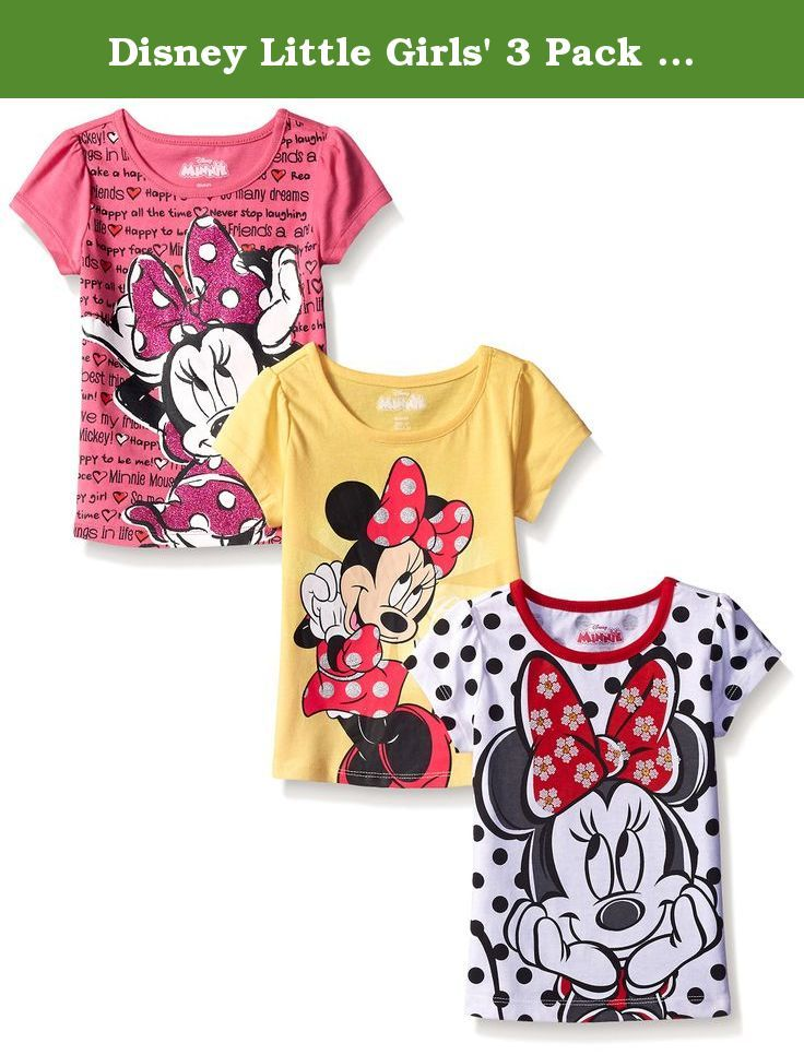 f1af80dc8 Disney Little Girls' 3 Pack Minnie Mouse T-Shirts, White, 2T. 3 pack minnie  mouse tees with glittered screen prints.